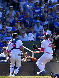 May 14, 2017 - Kansas City, MO, USA - Kansas City Royals relief pitcher Joakim Soria runs behind home plate to catch a pop foul in front of catcher Drew Butera for an out on Baltimore Orioles' Mark Trumbo to end the top of the eighth inning on Sunday, May 14, 2017 at Kauffman Stadium in Kansas City, Mo. (Credit Image: © John Sleezer/TNS via ZUMA Wire)
