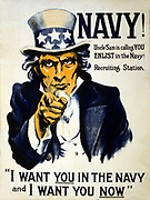 World War I 1914-1918: American recruitment poster, 1917. 'Navy! Uncle Sam is calling you - Enlist in the Navy!  I want you in the Navy and I want you Now'