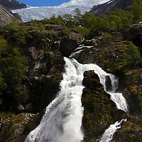 Europe, Norway, Olden. Briksdal Glacier and River.