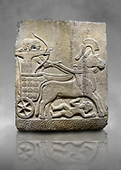Hittite relief sculpted orthostat stone panel of Long Wall Basalt, Karkamıs, (Kargamıs), Carchemish (Karkemish), 900 - 700 B.C.  Anatolian Civilizations Museum, Ankara, Turkey<br /> <br /> Chariot. One of the two figures in the chariot holds the horse's headstall while the other throws arrows. There is a naked enemy with an arrow in his hip lying face down under the horse's feet. It is thought that this figure is depicted smaller than the other figures since it is an enemy soldier. The tower part of the orthostat is decorated with braiding motifs.<br /> <br /> On a grey art background. .<br />  <br /> If you prefer to buy from our ALAMY STOCK LIBRARY page at https://www.alamy.com/portfolio/paul-williams-funkystock/hittite-art-antiquities.html  - Type  Karkamıs in LOWER SEARCH WITHIN GALLERY box. Refine search by adding background colour, place, museum etc.<br /> <br /> Visit our HITTITE PHOTO COLLECTIONS for more photos to download or buy as wall art prints https://funkystock.photoshelter.com/gallery-collection/The-Hittites-Art-Artefacts-Antiquities-Historic-Sites-Pictures-Images-of/C0000NUBSMhSc3Oo