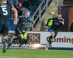 Falkirk's Tommy Robson celebrates after scoring their fourth goal. Falkirk 6 v 1 Dundee United, Scottish Championship game played 6/1/2018 played at The Falkirk Stadium.