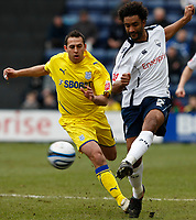 Photo: Steve Bond/Richard Lane Photography. Preston North End v Cardiff City. Coca Cola Championship. 27/02/2010. Michael Chopra (L) cannot get to Youl Mawene (R)