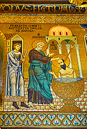 Medieval Byzantine style mosaics of St Paul being bapitised  in the Palatine Chapel, Cappella Palatina, Palermo, Italy .<br /> <br /> If you prefer you can also buy from our ALAMY PHOTO LIBRARY  Collection visit : https://www.alamy.com/portfolio/paul-williams-funkystock/byzantine-art-antiquities.html . Type -    Palatine     - into the LOWER SEARCH WITHIN GALLERY box. Refine search by adding background colour, place, museum etc<br /> <br /> Visit our BYZANTINE MOSAIC PHOTO COLLECTION for more   photos  to download or buy as prints https://funkystock.photoshelter.com/gallery-collection/Roman-Byzantine-Art-Artefacts-Antiquities-Historic-Sites-Pictures-Images-of/C0000lW_87AclrOk