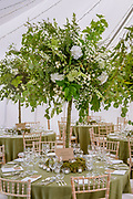 Styling by Get Knotted of a wedding held at Dalswinton Barony Church. Dalswinton in Dumfries and Galloway. The marquee was styaled as an indoor forest, The company, run by Lindsey Hunter from her base in the Scottish Borders, can design, style organise and provide all the props and items needed for a wedding.