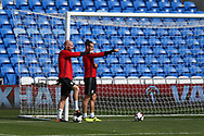 Gareth Bale ® and James Collins of Wales point the way during the Wales football team training at the Cardiff city Stadium in Cardiff , South Wales on Friday 1st September 2017.  the team are preparing for their FIFA World Cup qualifier home to Austria tomorrow.  pic by Andrew Orchard, Andrew Orchard sports photography