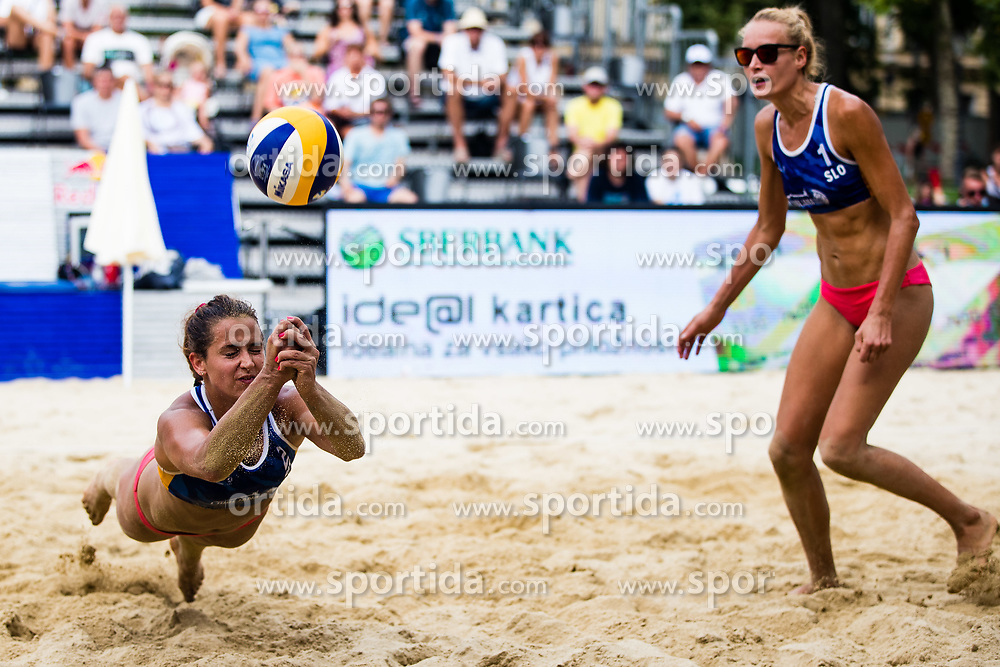 Monika Potokar of Slovenia diving for a ball during Beach Volleyball World Tour in Ljubljana 2020, on August 1, 2020 in Kongresni trg, Ljubljana, Slovenia. Photo by Grega Valancic / Sportida