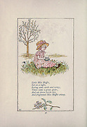 Little Miss Muffet, Sat on a tuffet, Eating some curds and whey. There came a great spider, And sat down beside her, And frightened Miss Muffet away. from the book Mother Goose : or, The old nursery rhymes by Kate Greenaway, Engraved and Printed by Edmund Evans published in 1881 by George Routledge and Sons London nad New York