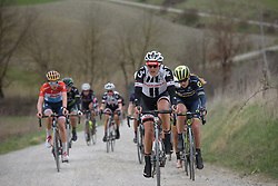 Lucinda Brand (Sunweb) on the longest stretch of gravel at Strade Bianche - Elite Women. A 127 km road race on March 4th 2017, starting and finishing in Siena, Italy. (Photo by Sean Robinson/Velofocus)