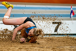 Anouk Vetter in action on the long jump during AA Drink Dutch Athletics Championship Indoor on 20 February 2021 in Apeldoorn.