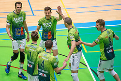Bas van Bemmelen of Orion, or6/, Adam White of Orion, David Bes of Orion celebrate during the league match between Active Living Orion vs. Amysoft Lycurgus on March 20, 2021 in Doetinchem.
