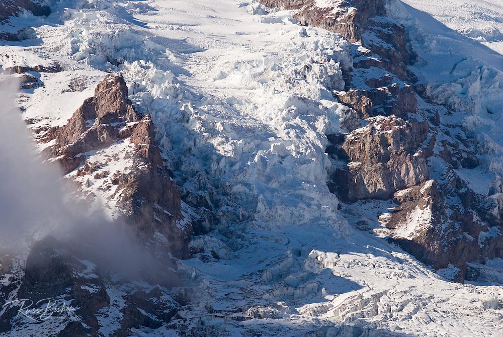 Detail of the Nisqually Glacier on Mount Rainier from Glacier Vista, Mount Rainier National Park, Washington USA