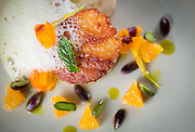 The roasted scallop Tuesday, July 29, 2014 at Spiaggia. (Brian Cassella/Chicago Tribune) B583898846Z.1 <br /> ....OUTSIDE TRIBUNE CO.- NO MAGS,  NO SALES, NO INTERNET, NO TV, CHICAGO OUT, NO DIGITAL MANIPULATION...
