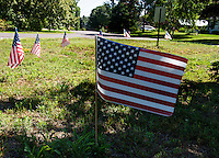 Flags along Cottonwood and Walker Streets in Laconia.   Karen Bobotas for the Laconia Daily Sun