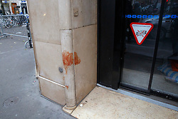 © Licensed to London News Pictures. 16/11/2015. Paris, France. Blood stains left on a building near Bataclan Cafe in Paris, France following the Paris terror attacks on Monday, 16 November 2015. Photo credit: Tolga Akmen/LNP