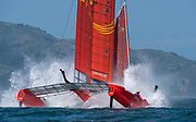 SailGP Team China crash during practice in San Francisco.