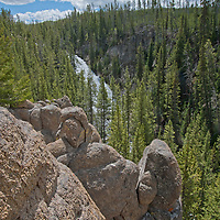The Gibbon River pours over Virginia Cascade into a canyon in Yellowstone National Park, Wyoming.