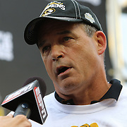 ORLANDO, FL - JANUARY 01:  Head coach Gary Pinkel of the Missouri Tigers speaks on stage after winning the Buffalo Wild Wings Citrus Bowl between the Minnesota Golden Gophers and the Missouri Tigers at the Florida Citrus Bowl on January 1, 2015 in Orlando, Florida. (Photo by Alex Menendez/Getty Images) *** Local Caption *** Gary Pinkel