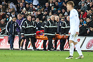 Connor Wickham of Crystal Palace his stretched off during the Premier League match between Swansea City and Crystal Palace at the Liberty Stadium, Swansea, Wales on 26 November 2016. Photo by Andrew Lewis.