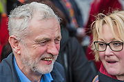 Jeremy Corbyn arrives in good spirits - A march against cuts to and potential privatisation of the NHS starts in Tavistock Square and heads for Parliament Square. The march was organised by the peoples assembly and supported by most major unions and the Labour Party. London  04 Mar 2017