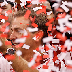 Jan 9, 2012; New Orleans, LA, USA; Alabama Crimson Tide head coach Nick Saban celebrates with The Coaches Trophy crystal football after the 2012 BCS National Championship game win over the LSU Tigers at the Mercedes-Benz Superdome.  Mandatory Credit: Derick E. Hingle-US PRESSWIRE