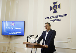 June 15, 2018 - Kiev, Ukraine - Deputy Chief of the Main Investigation Department of the SBU Bogdan Tivodar speaks during a press conference in the Ukrainian Security Service (SBU) in Kiev, Ukraine, 15 June 2018. On 13 June the SBU detained another person involved in the organization of terrorist acts in Ukraine, which was discovered after staging the 'assassination' of journalist Arkady Babchenko, said Tivodar. Ukrainian police announced on May 29 evening that Babchenko, a Russian emigre journalist known for his outspoken anti-Kremlin views, had been shot dead, only for him to reappear alive and well at a news conference at the SBU headquarters the following day. (Credit Image: © Str/NurPhoto via ZUMA Press)