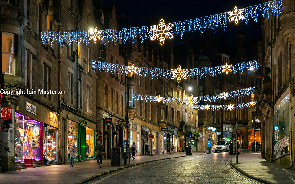 Edinburgh, Scotland, UK. 26 November 2020.Night views of Edinburgh as Christmas approaches.  View of Christmas lights on Cockburn Street in Edinburgh's Old Town.  Credit.  Iain Masterton/Alamy Live News