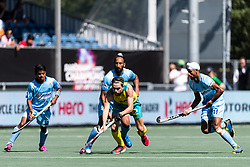 (L-R) Vivek Prasad of India, Sardar Singh of India, Flynn Ogilvie of Australia, Mandeep Singh of India during the Champions Trophy finale between the Australia and India on the fields of BH&BC Breda on Juli 1, 2018 in Breda, the Netherlands.