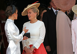 The Countess of Wessex (right) talks to Queen Letizia of Spain during the annual Order of the Garter Service at St George's Chapel, Windsor Castle.