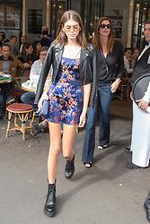 Kaia Gerber and Cindy Crawford leaving Cafe de Flore Restaurant to the office against the Paris Fashion Week, Paris, France, September 25 2017. Photo by Nasser Berzane/ABACAPRESS.COM