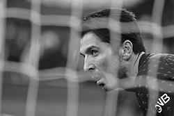 January 19, 2019 - Paris, Ile de France, France - Paris SG Goalkeeper GIANLUIGI BUFFON in action during the French championship League 1 Conforama match Paris SG against EA Guingamp at the Parc des Princes Stadium in Paris - France..Paris SG won 9-0 (Credit Image: © Pierre Stevenin/ZUMA Wire)