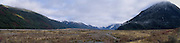 Panoramic view of the Waimakariri Valley and overhanging clouds; New Zealand; June 2013