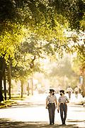 Cadets Maddie Somogyi and Marie Le Gallo walk along Jones Avenue at The Citadel in Charleston, South Carolina on Tuesday, November 10, 2020.<br /> <br /> Credit: Cameron Pollack / The Citadel