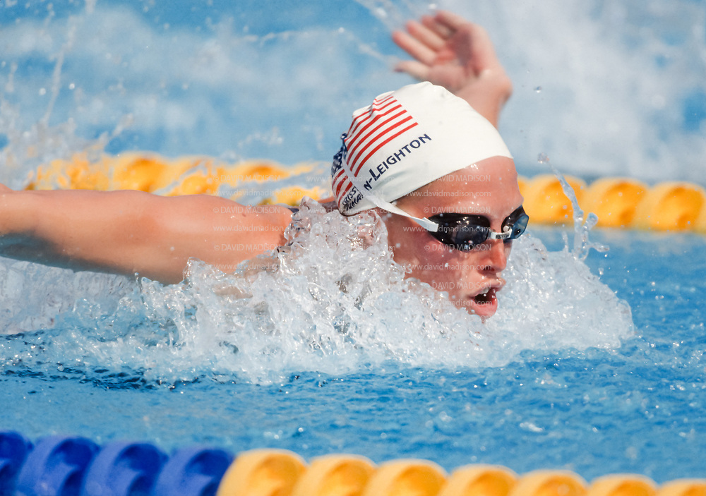 BARCELONA, SPAIN -  JULY 12:  Crissy Ahmann-Leighton of the USA swims in the qualifying heats of the Women's 100 meters Butterfly race during the 1992 Summer Olympics on July 12, 1992 at the Bernat Picornell Pools in Montjuic, Spain; Amman-Leighton was the eventual silver medalist. (Photo by David Madison/Getty Images)