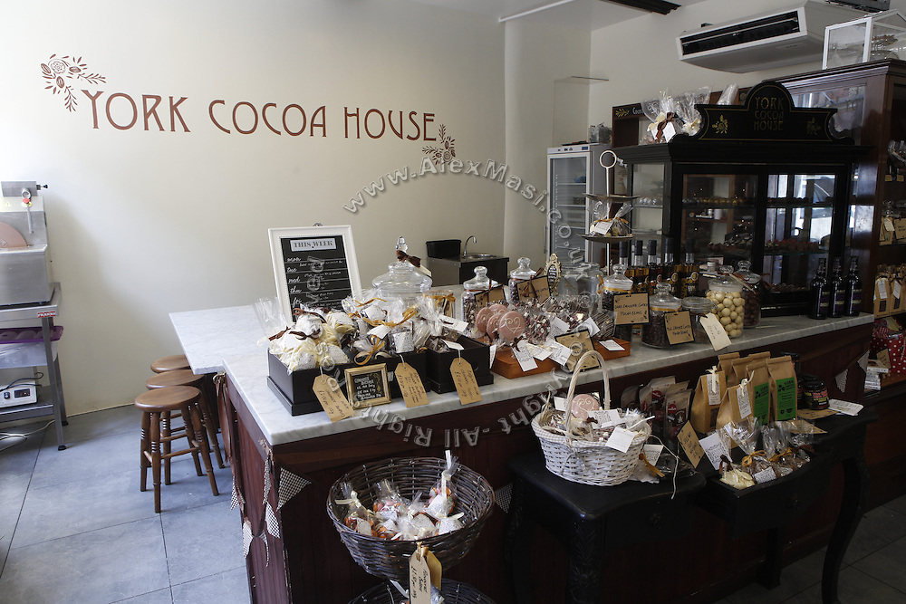 Chocolate is on sale inside York Cocoa House Tearoom, in York, Yorkshire, England, United Kingdom.