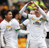 14/02/15 SCOTTISH PREMIERSHIP<br /> ST JOHNSTONE v CELTIC<br /> MCDIARMID PARK - PERTH<br /> Celtic's Stefan Johansen (right) celebrates after scoring his side's second goal