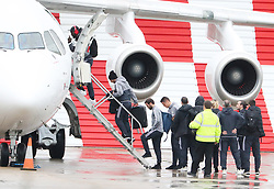 Romelu Lukaku, Juan Mata, Henrikh Mkhitaryan and Ander Herrera as the Manchester United team fly to Wales on Tuesday morning for their Carabao Cup match against Swansea City