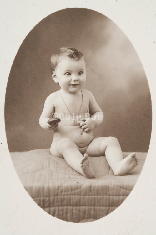 a classical portrait of a little baby child