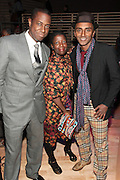 November 3, 2012- New York, NY:  (L-R) Visual Artist Sanford Biggers, Thelma Golden, Director and Chief Curator of The Studio Museum in Harlem, and Celebrity Chef/Resturantuer/On-Air Personality Marcus Samuelsson,  at the EBONY Power 100 Gala Presented by Nationwide held at Jazz at Lincoln Center on November 3, 2012 in New York City. The EBONY Power 100 Gala Presented by Nationwide salutes the country's most influential African Americans.(Terrence Jennings) .