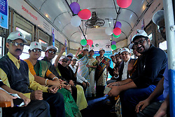 February 4, 2018 - Kolkata, West Bengal, India - Cancer Research Center in the city Kolkata today organized a unique Tram ride for the cancer survivors on the occasion of World Cancer Day. (Credit Image: © Sandip Saha/Pacific Press via ZUMA Wire)