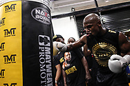 Floyd Mayweather Jr. goes through his workout during a media day at the Mayweather Boxing Club in preparation for his fight against Connor McGregor in Las Vegas, Thursday, Aug. 10, 2017.
