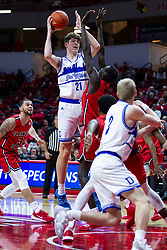 NORMAL, IL - February 22: Abdou Ndiaye defends Liam Robbins during a college basketball game between the ISU Redbirds and the Drake Bulldogs on February 22 2020 at Redbird Arena in Normal, IL. (Photo by Alan Look)