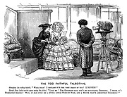 """The Too Faithful Talbotype. Georgina (in riding habit). """"Well dear! I declare it's the very image of you! I never!"""" Sarah Jane (who insists upon seeing the plate). """"Like me! For goodness sake don't be ridiculous, Georgina. I think it's perfectly absurd! Why, it has given me a stupid little turn-up nose, and a mouth that's absolutely enormous!"""""""