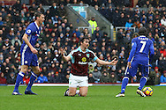 Joey Barton of Burnley (c) appeals for a free kick. Premier league match, Burnley v Chelsea at Turf Moor in Burnley, Lancs on Sunday 12th February 2017.<br /> pic by Chris Stading, Andrew Orchard Sports Photography.