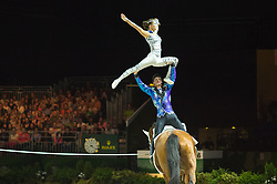Jasmine Lindner, Lukas Wacha, (AUT), Bram, Klaus Haidacher - Pas de Deux Vaulting - Alltech FEI World Equestrian Games™ 2014 - Normandy, France.<br /> © Hippo Foto Team - Jon Stroud<br /> 04/09/2014
