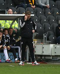 Swansea manager Garry Monk shows his dejection - Photo mandatory by-line: Matt Bunn/JMP - Tel: Mobile: 07966 386802 05/04/2014 - SPORT - FOOTBALL - KC Stadium - Hull - Hull City v Swansea City- Barclays Premiership