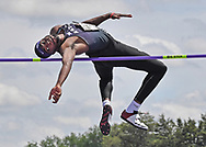 Kyle Alcine of Kansas State competes in the high jump during the Big 12 Outdoor Track & Field Championship at R.V. Christian Track & Field Complex in Manhattan, Kansas.