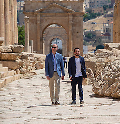 The Duke of Cambridge (left) and Crown Prince Hussein of Jordan during a visiti to the Jerash archaeological site in Jordan.