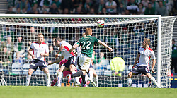Hibernian's Fraser Fyvie hits a shot in the last min,<br /> Hibernian 0 v 1 Falkirk, William Hill Scottish Cup semi-final, played 18/4/2015 at Hamden Park, Glasgow.