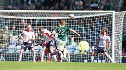 Hibernian's Fraser Fyvie hits a shot in the last min,<br /> Hibernian 0 v 1 Falkirk, William Hill Scottish Cup semi-final, played 18/4/2015 at Hamden Park, Glasgow.