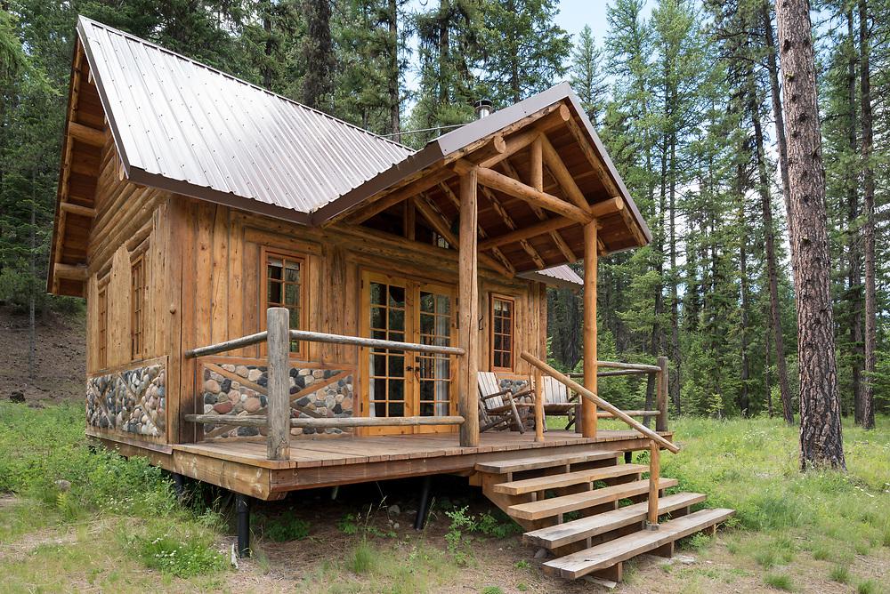 Log cabin at the Minam River Lodge in Oregon's Wallowa Mountains.
